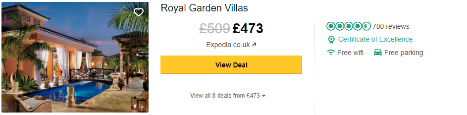 Tripadvisor image – see the latest reviews at Royal Garden Villas and compare prices from multiple suppliers