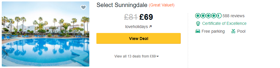 Tripadvisor image – see the latest reviews at CLC Sunningdale Village and compare prices from multiple suppliers